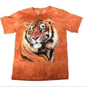 Mountain Wear Orange tie dyed Tshirt tiger head  L